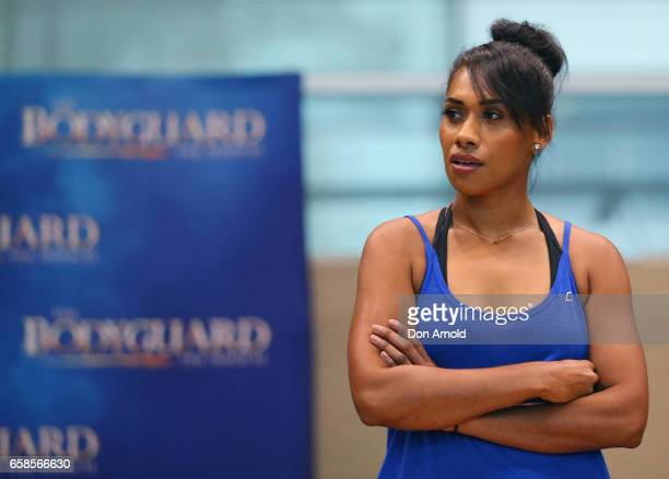 Paulini performs a scene during rehearsals for The Bodyguard rehearsal on March 28 2017 in Sydney Australia