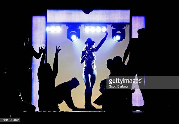 Paulini performs during a production media call for The Bodyguard at Regent Theatre on August 24 2017 in Melbourne Australia