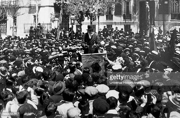 Paulino Iglesias Posse 1850 – 1925 better known as Pablo Iglesias Spanish socialist and labour leader addressing a crowd in 1920 He is regarded as...