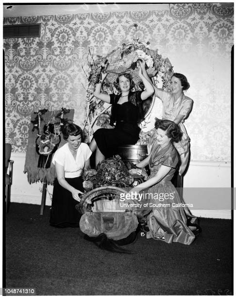 Paulist Women's Club planning Mardi Gras, 24 January 1952. Mrs A Loren Boadt;Mrs Francis Prest;Mrs Ludlow Flower;Junior;Mrs Ozio Childs, the Third....