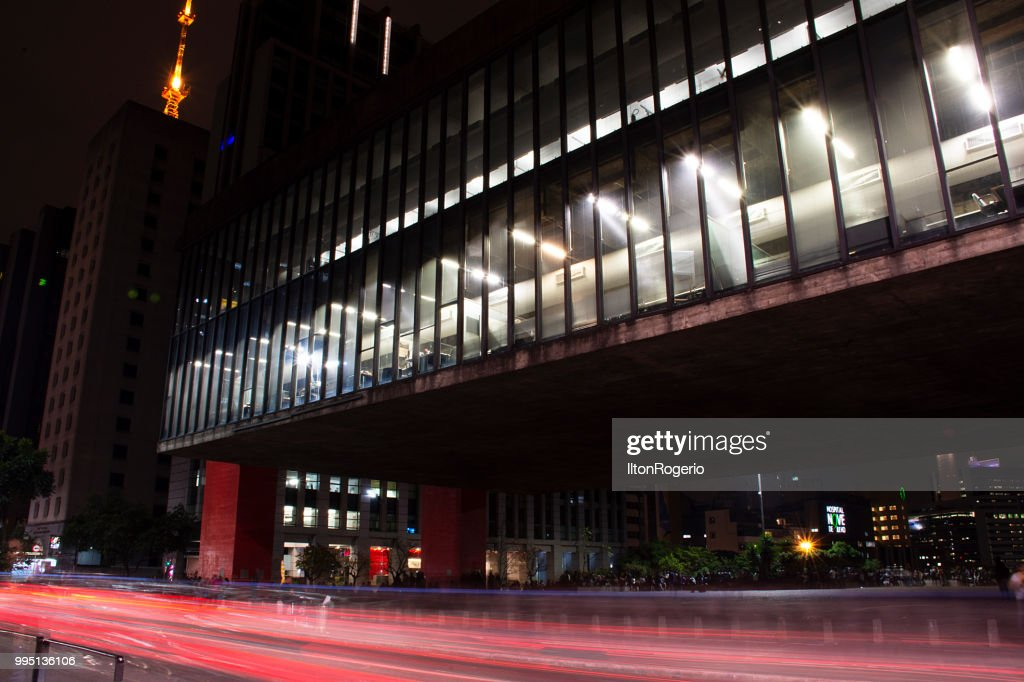 Paulista Avenue at night : Stock Photo