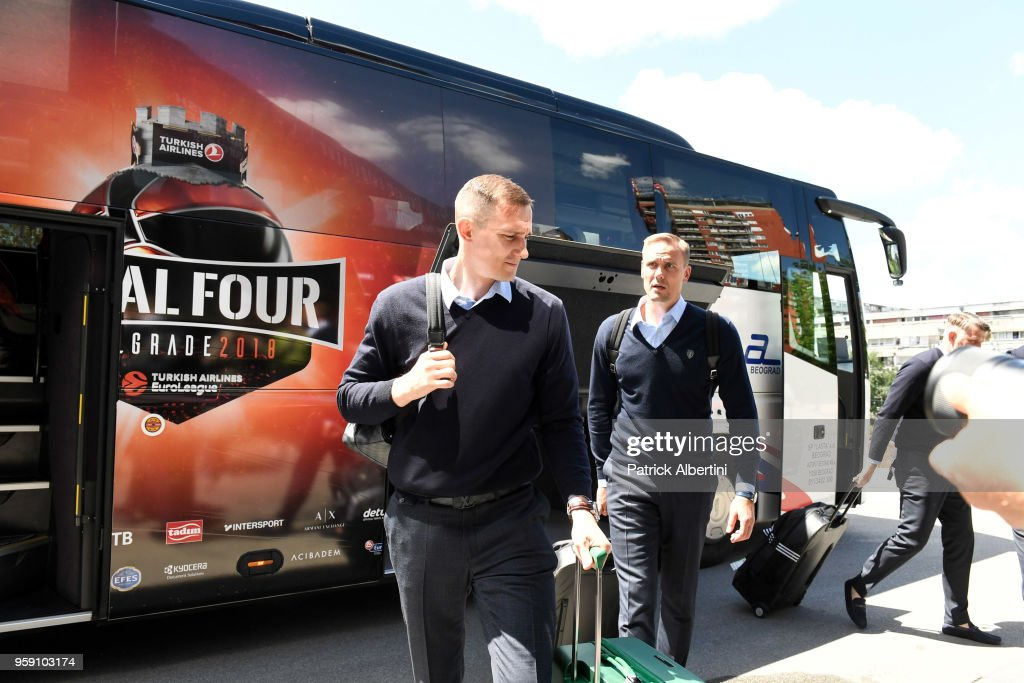 Paulius Jankunas, #13 of Zalgiris Kaunas and Edgaras Ulanovas, #92 of Zalgiris Kaunas during the Zalgiris Kaunas Arrival to participate of 2018 Turkish Airlines EuroLeague F4 at Hyatt Regency Hotel on May 16, 2018 in Belgrade, Serbia.
