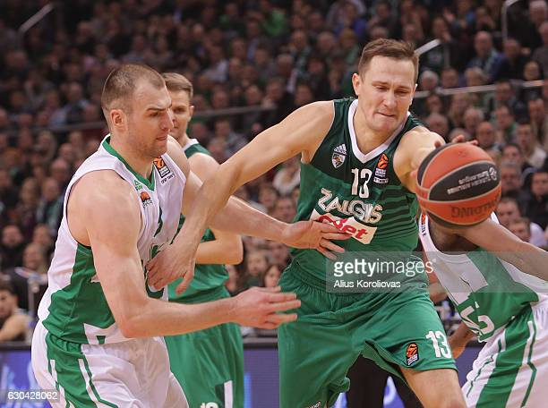 Paulius Jankunas #13 of Zalgiris Kaunas competes with Artsiom Parakhouski #9 of Unics Kazan during the 2016/2017 Turkish Airlines EuroLeague Regular...