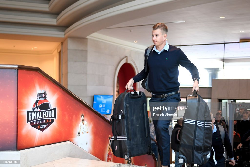 Paulius Jankunas, #13 of Zalgiris Kaunas during the Zalgiris Kaunas Arrival to participate of 2018 Turkish Airlines EuroLeague F4 at Hyatt Regency Hotel on May 16, 2018 in Belgrade, Serbia.