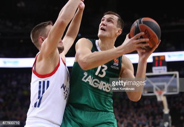 Paulius Jankunas #13 of Zalgiris Kaunas in action during the 2017/2018 Turkish Airlines EuroLeague Regular Season Round 9 game between Zalgiris...