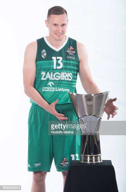 Paulius Jankunas #13 of Zalgiris Kaunas poses during the 2018 Turkish Airlines EuroLeague F4 Teams Captains with Champion Trophy Photo Session at...