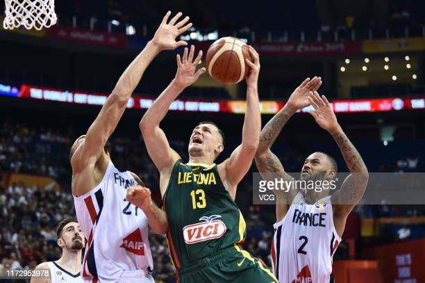 Paulius Jankunas of Lithuania goes to the basket during FIBA World Cup 2019 Group L match between France and Lithuania at Nanjing Gymnasium of Youth...