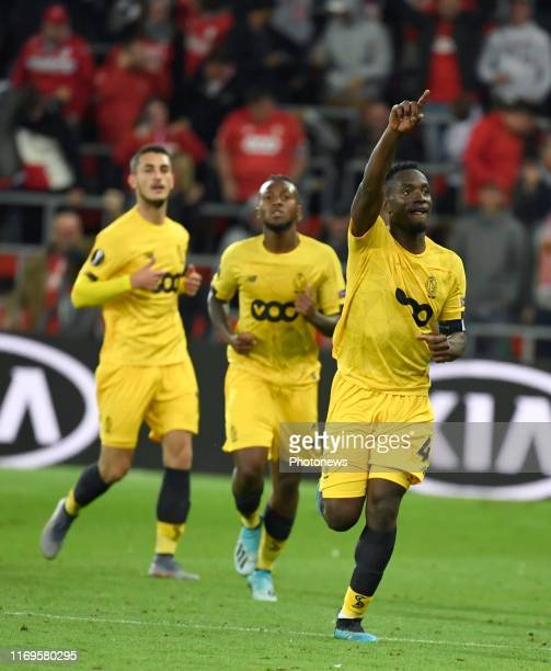 PaulJose Mpoku midfielder of Standard Liege celebrates scoring a goal during the UEFA Europa League group F match between Standard Liege and Vitoria...