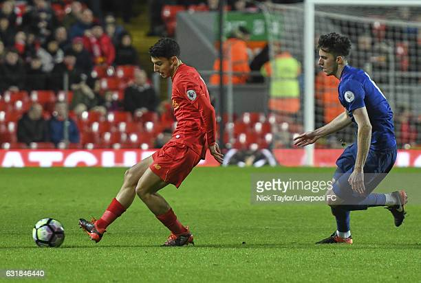 Paulo Alves of Liverpool and Sean Goss of Manchester United in action during the Liverpool v Manchester United Premier League 2 game at Anfield on...