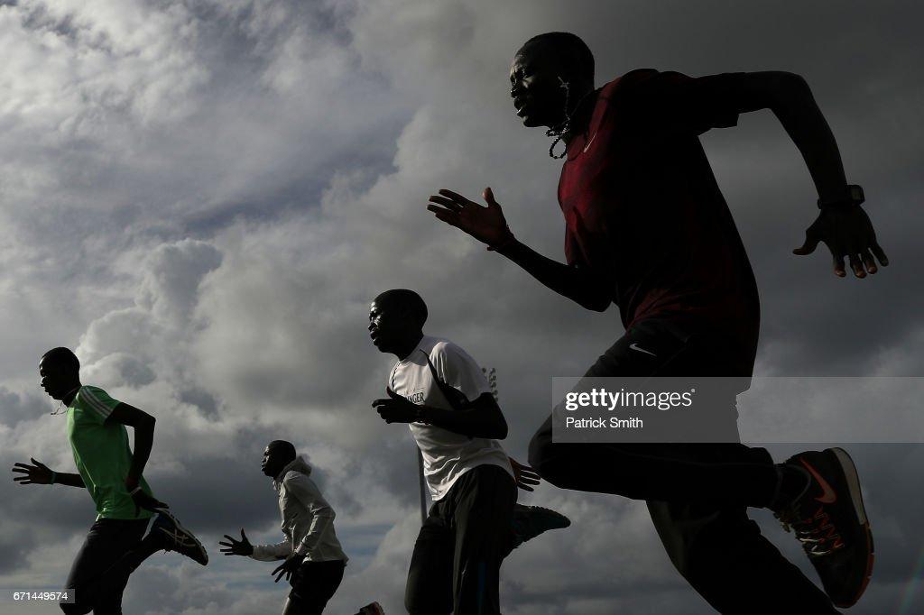 Paulo Amotun Lokoro (FRONT) and his teammates of The Athlete Refugee Team practice prior to the IAAF / BTC World Relays Bahamas 2017 at the Thomas Robinson Stadium on April 21, 2017 in Nassau, Bahamas.