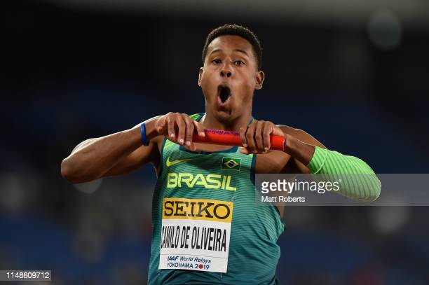 Paulo Andre Camilo De Oliveira of Brazil celebrates during the Men's 4x100m Relay Final on day two of the IAAF World Relays at Nissan Stadium on May...