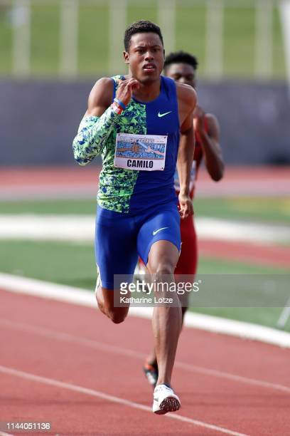 Paulo Andre Camilo of Brazil sprints to the finish of the men's 200 meter dash on the second day of the 61st Mt SAC Relays at Murdock Stadium at El...