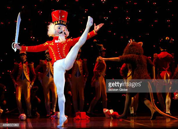 Paulo Arrais performs as The Nutcracker Prince during Boston Ballet's dress rehearsal for 'The Nutcracker' at the Boston Opera House in Boston on...