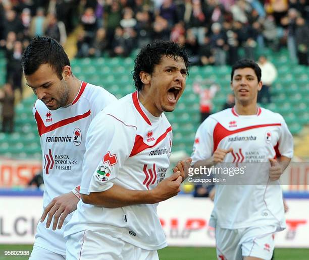 Paulo Barreto and Riccardo Megiorini of AS Bari celebrate the opening goal during the Serie A match between AS Bari and Udinese Calcio at Stadio San...