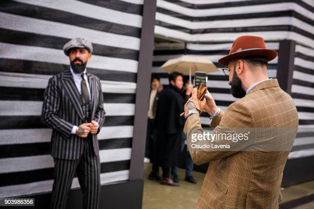Paulo Battista and Rui Martins are seen during the 93 Pitti Immagine Uomo at Fortezza Da Basso on January 11 2018 in Florence Italy