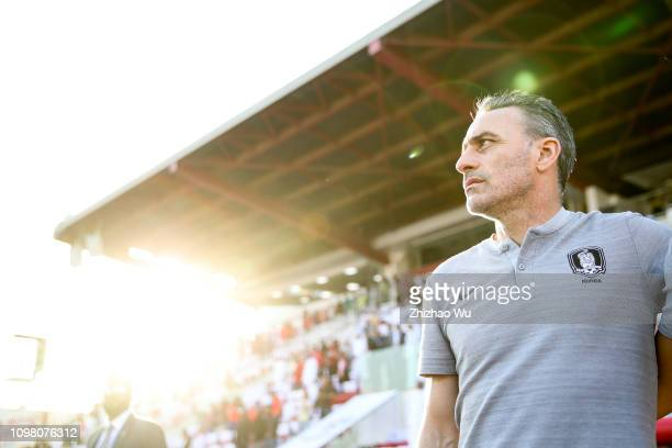 Paulo Bento coach of South Korea in action during the AFC Asian Cup round of 16 match between South Korea and Bahrain at Rashid Stadium on January...