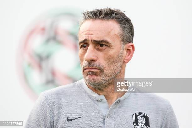 Paulo Bento coach of South Korea in action during the AFC Asian Cup quarter final match between South Korea and Qatar at Zayed Sports City Stadium on...
