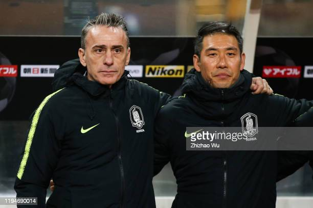 Paulo Bento coach of South Korea in action during the EAFF E-1 Football Championship match between South Korea and Japan at Busan Asiad Main Stadium...