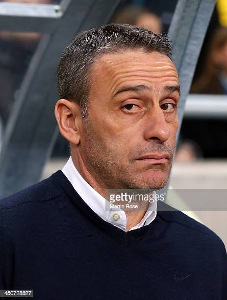 Paulo Bento, head coach of Portugal looks on before the FIFA 2014 World Cup Qualifier Play-off Second Leg match between Sweden and Portugal at...