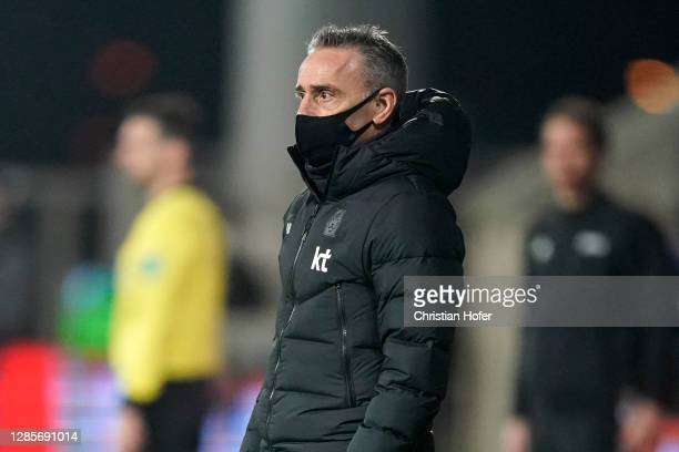 Paulo Bento, Manager of South Korea looks on during the international friendly match between Mexico and South Korea at Wiener Neustaedter Stadion on...