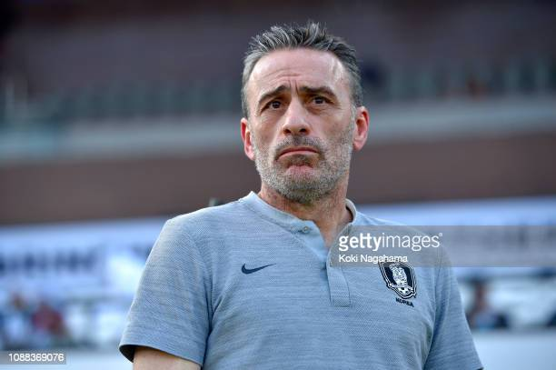Paulo Bento of South Korea looks on during the AFC Asian Cup quarter final match between South Korea and Qatar at Zayed Sports City Stadium on...