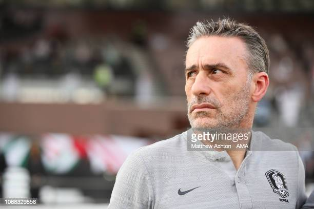 Paulo Bento the head coach / manager of South Korea during the AFC Asian Cup quarter final match between South Korea and Qatar at Zayed Sports City...
