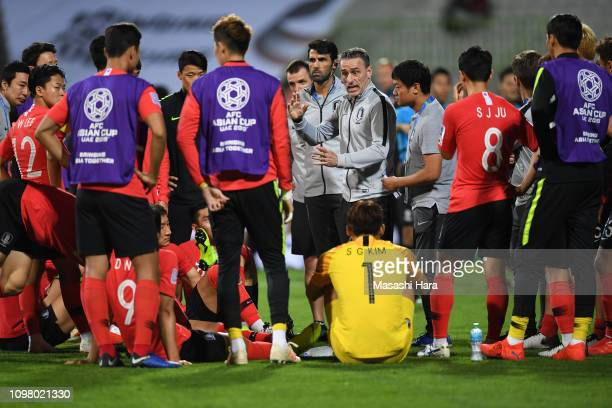 Paulo Bento,coach of South Korea looks on before extra time during the AFC Asian Cup round of 16 match between South Korea and Bahrain at Rashid...