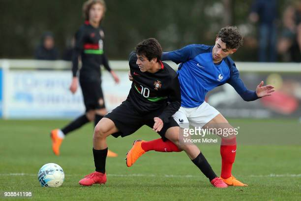 Paulo Bernardo of Portugal and Adil Aouchiche of France during the Mondial Montaigu match between France U16 and Portugal U16 on March 27 2018 in...