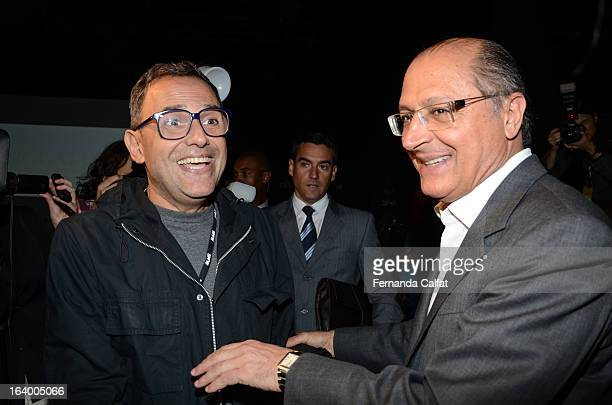 Paulo Borges and Geraldo Alckmin arrive on the front row during Cavalera show Sao Paulo Fashion Week Summer 2013/2014 on March 18 2013 in Sao Paulo...