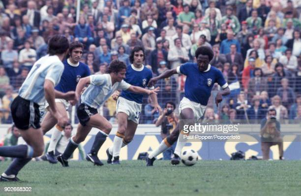 Paulo Cesar on the ball for Brazil during the FIFA World Cup match between Argentina and Brazil at the Niedersachsenstadion Hannover 30th June 1974...
