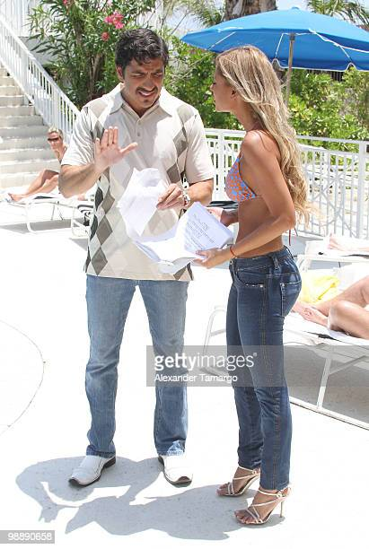 Paulo Cesar Quevedo and Alejandra Pinzon are seen on the set of 'Hotel South Beach Caliente' on May 6 2010 in Miami Beach Florida