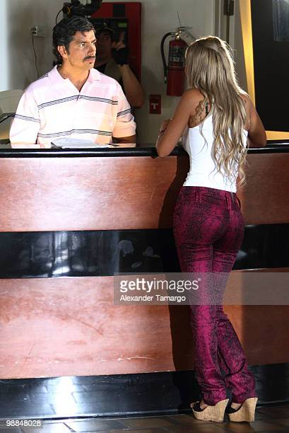 Paulo Cesar Quevedo and Alejandra Pinzon are seen on the set of tv show 'Hotel South Beach Caliente' on May 4 2010 in Miami Beach Florida