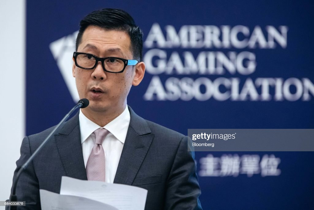 Paulo Chan, director of Macau's Gaming Inspection and Coordination Bureau, speaks during the Global Gaming Expo (G2E) inside the Venetian Macao resort and casino, operated by Sands China Ltd., a unit of Las Vegas Sands Corp., in Macau, China, on Wednesday, May 17, 2017. The gaming expo runs through May 18. Photographer: Anthony Kwan/Bloomberg via Getty Images