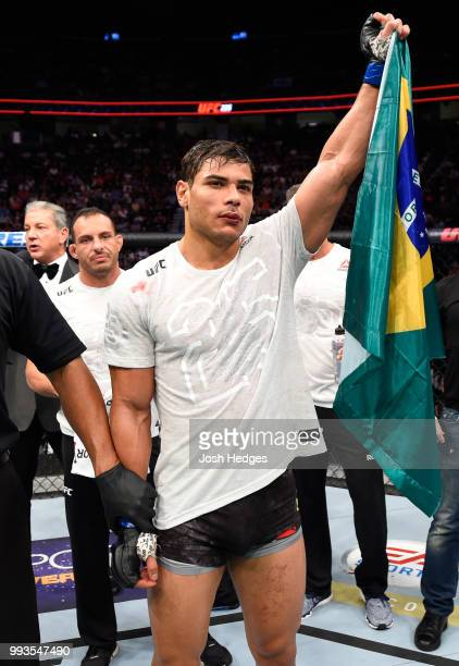 Paulo Costa of Brazil celebrates his win over Uriah Hall of Jamaica in their middleweight fight during the UFC 226 event inside TMobile Arena on July...