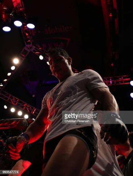 Paulo Costa of Brazil exits the Octagon after his win over Uriah Hall of Jamaica in their middleweight fight during the UFC 226 event inside TMobile...