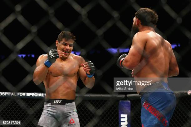 Paulo Costa of Brazil fights Johny Hendricks in their middleweight bout during the UFC 217 event at Madison Square Garden on November 4 2017 in New...