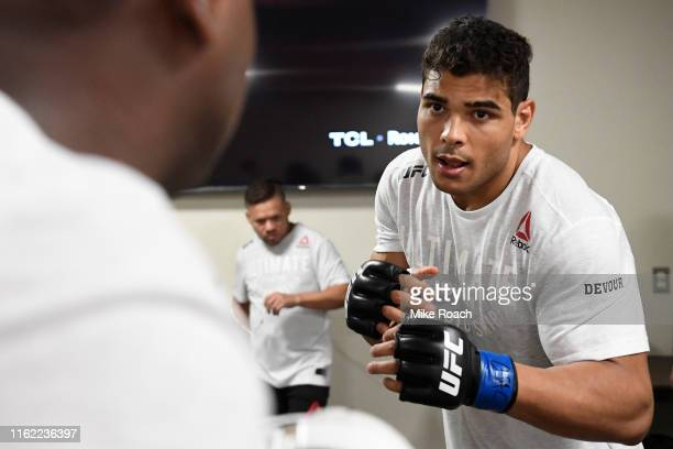 Paulo Costa of Brazil warms up backstage during the UFC 241 event at the Honda Center on August 17 2019 in Anaheim California
