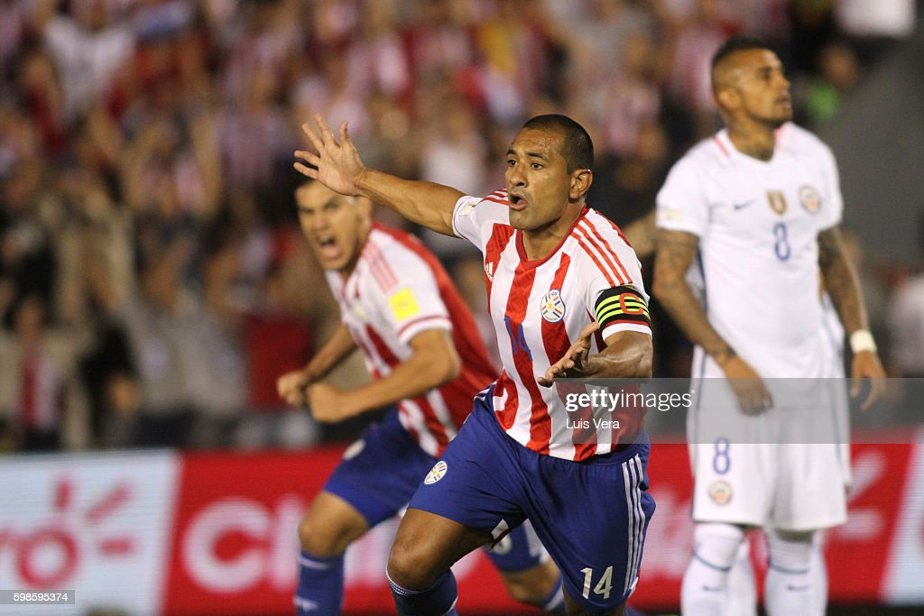 Paulo Da Silva of Paraguay celebrates after scoring the second goal of his team during a match between Paraguay and Chile as part of FIFA 2018 World Cup Qualifiers at Defensores del Chaco Stadium on September 01, 2016 in Asuncion, Paraguay.