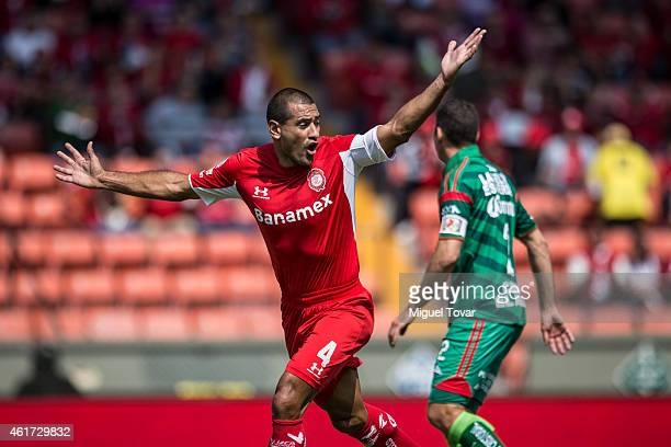 Paulo Da Silva of Toluca celebrates a goal scored by his teammate Isaac Esquivel during a match between Toluca and Chiapas as part of 2nd round...