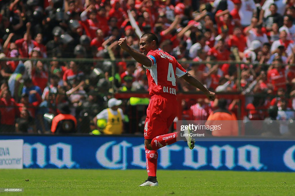 Paulo Da Silva of Toluca celebrates a scored goal during a match between Toluca and Cruz Azul as part of 8th round Clausura 2015 Liga MX at Nemesio Diez Stadium on March 01, 2015 in Toluca, Mexico.
