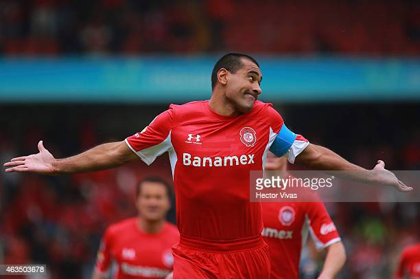 Paulo Da Silva of Toluca celebrates after scoring the first goal of his team during a match between Toluca and Santos Laguna as part of 6th round...
