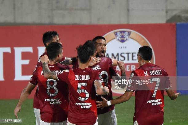 Paulo Díaz of River Plate celebrates with teammates after scoring the first goal of his team during a match between Junior and River Plate as part of...