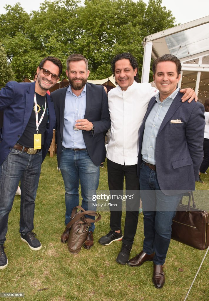 Paulo de Tarso (L) of Margot restaurant and guests at the opening night of Taste of London (running 13th-16th June) at Regents Park on June 13, 2018 in London, England.