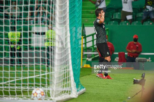 Paulo Dias Fernandes from Sporting celebrates a goal during the UEFA Champions League group C match between Sporting and Ajax at Estádio José...