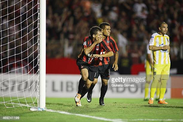 Paulo Dias of Atletico Paranaense celebrates a scored goal against The Stongest during a match between Atletico Paranaense and The Strongest as part...