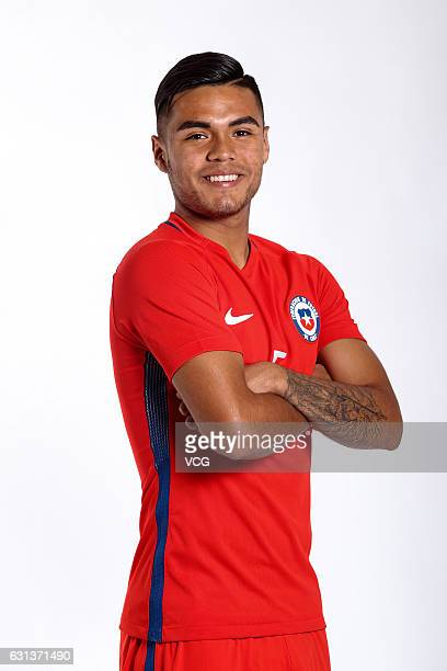 Paulo Diaz of Chile poses during the team presentation ahead of the 2017 Gree China Cup International Football Championship on January 9 2017 in...