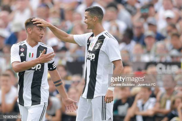 Paulo Dybala and Cristiano Ronaldo during the PreSeason Friendly match between Juventus and Juventus U19 on August 12 2018 in Villar Perosa Italy