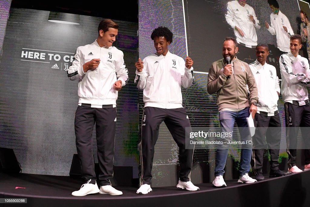 d5ecc7ed1 paulo dybala and juan cuadrado during juventus visit to the adidas