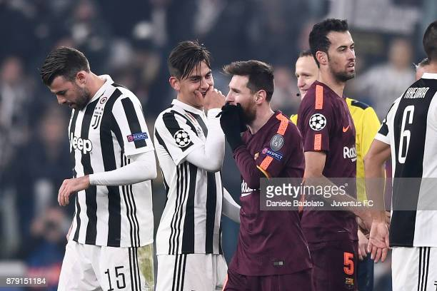Paulo Dybala and Lionel Messi during the UEFA Champions League group D match between Juventus and FC Barcelona at Allianz Stadium on November 22 2017...