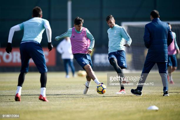 Paulo Dybala and Rodrigo Bentancur during a Juventus training session at Juventus Center Vinovo on February 15 2018 in Vinovo Italy